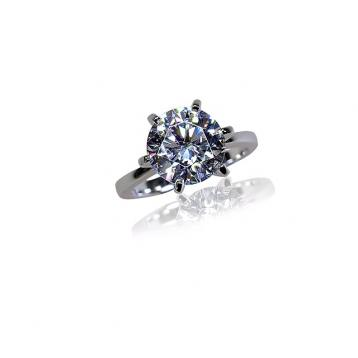 925 Silver 10.0mm Cubic Zirconia Ring