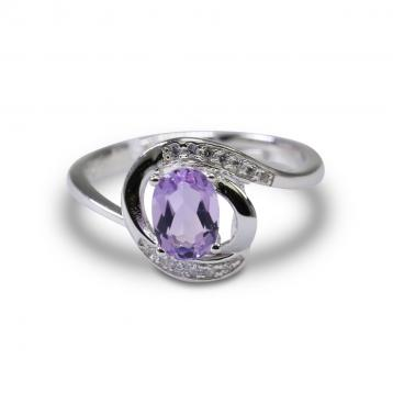 925 Silver Created Colored Stone Ring